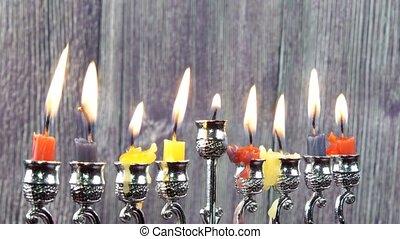 Jewish holiday Hanukkah menorah - Hanukkah with menorah...