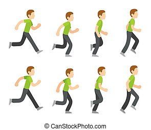 Running man animation 8 frame sequence. Flat cartoon style...