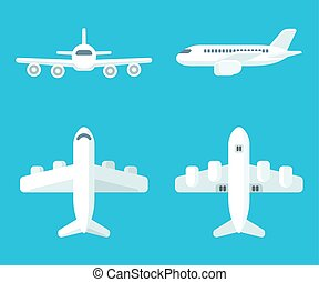 Cartoon airplane set - Airplane set in flat cartoon style....
