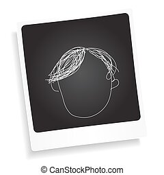 Doodle sketch of a hair style on a photograph background