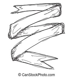 Doodle sketch of a banner on white background