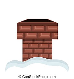 chimney of bricks with snow - chimney of bricks with white...