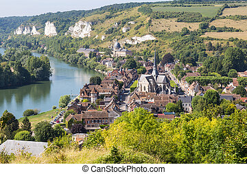 Panorama of Les Andelys, Normandie, France