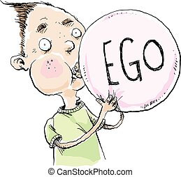 Inflated Ego - A cartoon man blowing up a balloon with the...