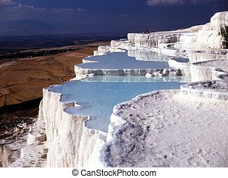 Pamukkale, Turkey - Mineral springs of Pamukkale which...