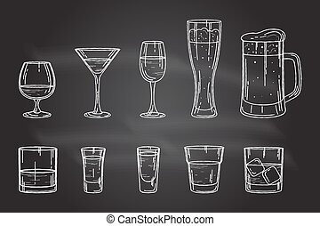 Set drink alcohol glass.