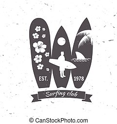 Set of Surf club concept .