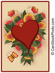 Heart poker card in vintage style, vector illustration