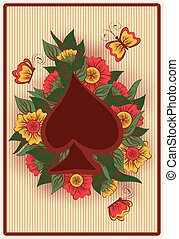 Spade poker card in vintage style,
