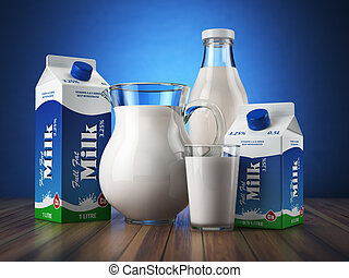 Milk Glass jug, glass, bottle and carton packs with milk 3d...