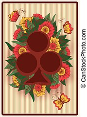 Club poker card in vintage style, vector illustration