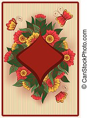 Diamond poker card in vintage style, vector illustration