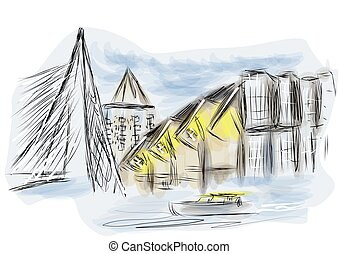 rotterdam. abstract illustration os city on multicolor...