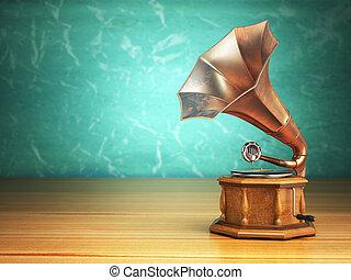 Vintage gramophone on green background 3d illustration