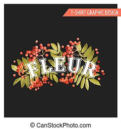 Vintage Autumn Floral Graphic Design - for T-shirt, Fashion,...