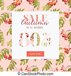 Autumn Sale Floral Banner - for Discount Poster, Fashion...