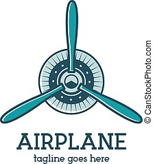Airplane propeller logo template with radial engine. Retro...