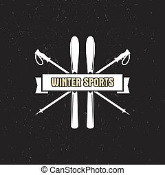 Winter Sports Label with ski equipment and ribbon, text....