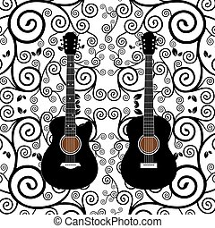 vector acoustic and  electric guitar on graphic design