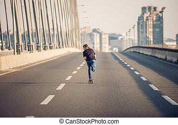 paseo, ciudad, monopatines, libre, Patín, equitación,...