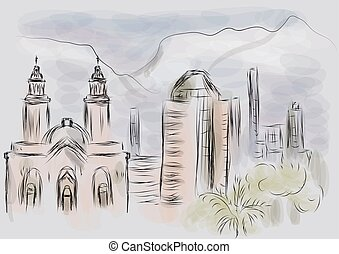 santiago chile abstract illustration of city on multicolor...