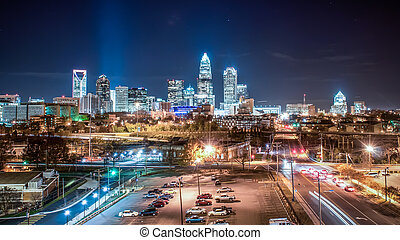 Charlotte City Skyline night scene - Charlotte City Skyline...