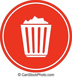 Filled recycle bin icon isolated on white background