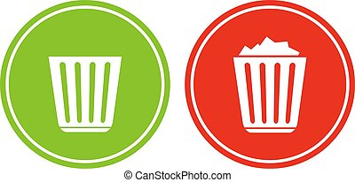Empty and full recycle bin icons