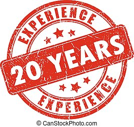 20 years experience rubber stamp isolated on white...