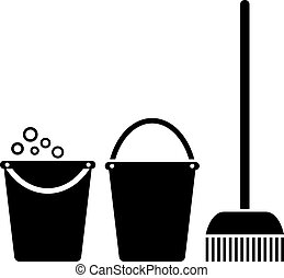Bucket and mop, cleaning icons set