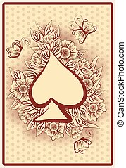 Spade poker vintage playing card, vector illustration