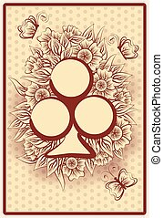 Club poker vintage playing card, vector illustration