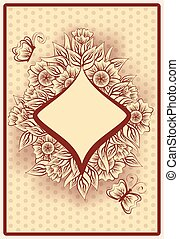 Diamond poker vintage playing card, vector illustration