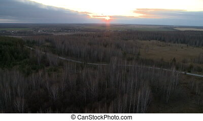 Landscape aerial shot - Landscape at dusk with sunset aerial...