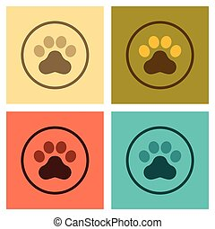 assembly flat icons pet dog trail