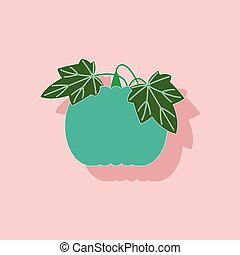 paper sticker on stylish background plant Cucurbita - paper...