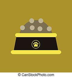 flat icon on background dog food bowl