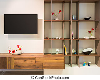 television on wall an wooden timber shelf units with...