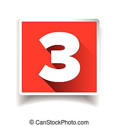Number three label or number icon