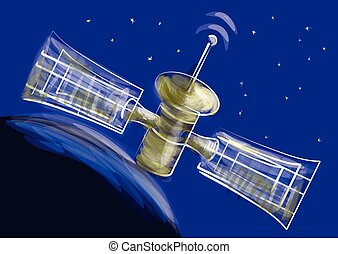satellite Space satellite orbiting the earth