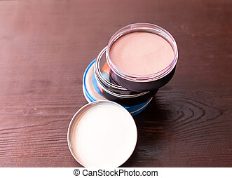 Face powder - Set of face powder on the table