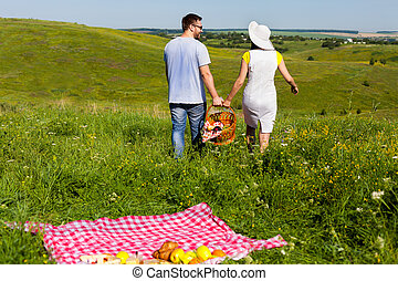 Young couple going home arter picnic - Back view of young...