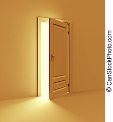 Orange room with opened door. 3d illustration