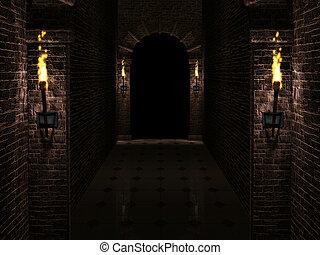Dark castle corridor - Dark medieval castle corridor with...
