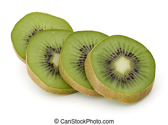 sliced Kiwi fruit isolated on white background cutout