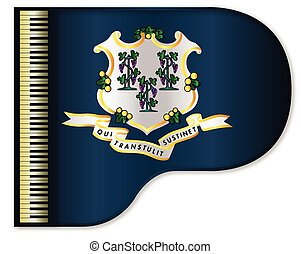 Grand Piano Connnecticut Flag - The Connnecticut state flag...