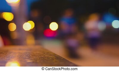 blurred light in the night city time laps - defocused...