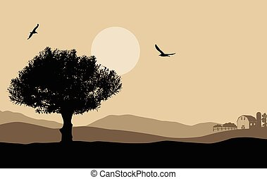 Beautiful landscape with tree on retro style