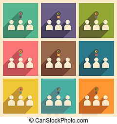 Flat with shadow concept icon group of people think