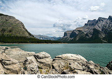 Scenic Lake Minnewanka - Lake Minnewanka, Banff National...
